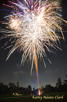 Fireworks in The Woodlands, Texas, on the 4th of July.  Fourth of July