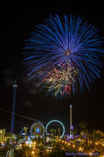 Fireworks, Kemah Boardwalk, Kemah, Texas, Amusement park.