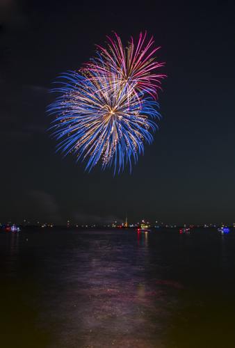 Fireworks, Galveston Bay, Kemah Boardwalk, Kemah, Texas.
