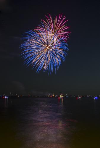 Fireworks, Galveston Bay, Kemah Boardwalk, Kemah, Texas.