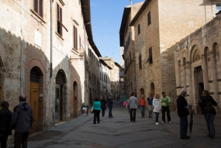 Properly exposed. San Gimignano, Italy, tourists, tourist attraction, hill town, Tuscany, Italy