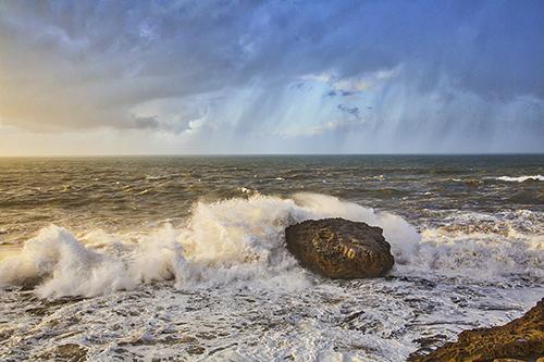 Atlantic Ocean, crashing waves, Essaouira; Morocco