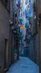 narrow street, Catalonian Separatist; starred flag; Estelades; Spain; Barcelona