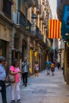 narrow street, Catalan flag; Spain; Barcelona