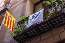 "Catalan flag; ""Estelada Vermella; Red Estelada""; Spain; Barcelona"