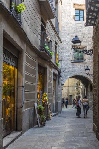 Street Scene Gothic Quarter Barcelona Spain