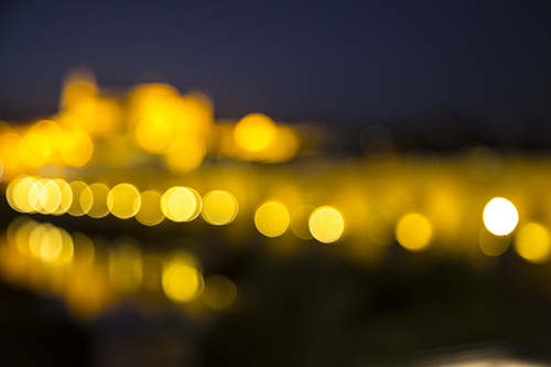 Blurry light, bokeh, Puente Romano; Cordoba; Spain; Roman Bridge; Twilight