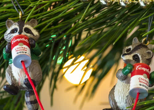 Holiday ornaments, Christmas, raccoons, christmas tree,